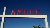 sign Amore at lido in Viareggio, Tuscany, Italy