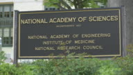 Sign for the National Academy of Sciences, Washington.