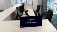 A sign is displayed in the National Cyber Security Centre on February 14 2017 in London England The National Cyber Security Centre is designed to...