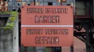 CU Sign of Entree interdite danger at Musee Les Mineurs Wendel / Petite Rosselle, Lorraine, France