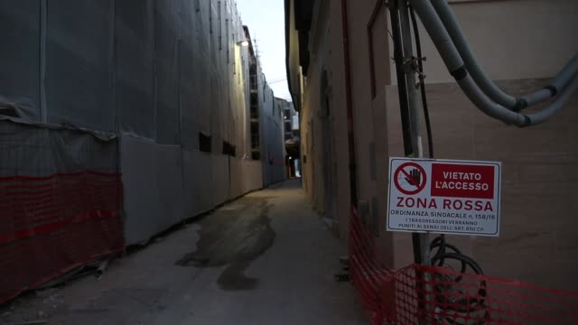 A sign of Red Zone in historic center of L'Aquila on March 21 2017 The Eighth anniversary of the L'Aquila earthquake will be marked on 06 April 2017...