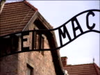Sign over entrance to Auschwitz concentration camp 'Arbeit Macht Frei' 2000