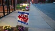 A sign points voters to the polling site at Sherwood Oaks Christian Church in Bloomington Indiana on Election Day 2016 The contentious and historic...