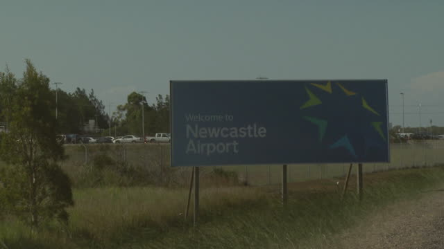 Sign reading 'Welcome to Newcastle Airport', NSW, Australia