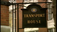 30 Sign 'Transport House' GV Transport House union London negotiators out of Transport House and stand Smith Sq chatting union leaders including...