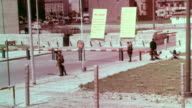 sign 'US Army Checkpoint Charlie' / border crossing area with guards on patrol / looking into the Eastern Sector of Berlin from the Friedrichstrasse...