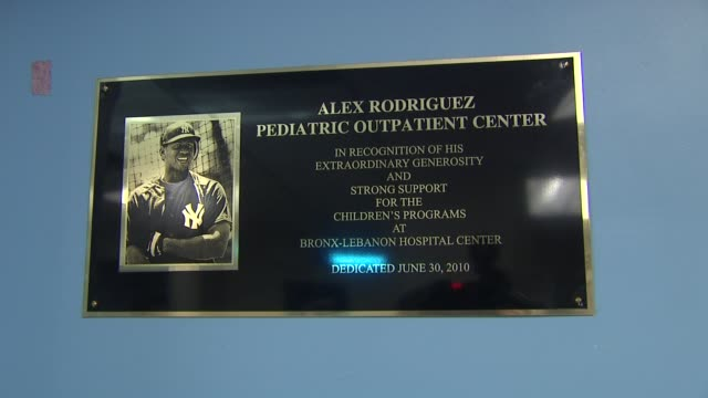 signage at the BronxLebanon Hospital Center Dedication Ceremony to Alex Rodriguez at New York NY