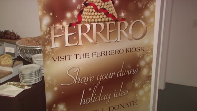 signage at the Ferrero Chocolates and Evan Lysacek Fashion Event at New York NY