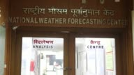 Signage is displayed above the entrance to at the National Weather Forecasting Center of the India Meteorological Department at the Ministry of Earth...