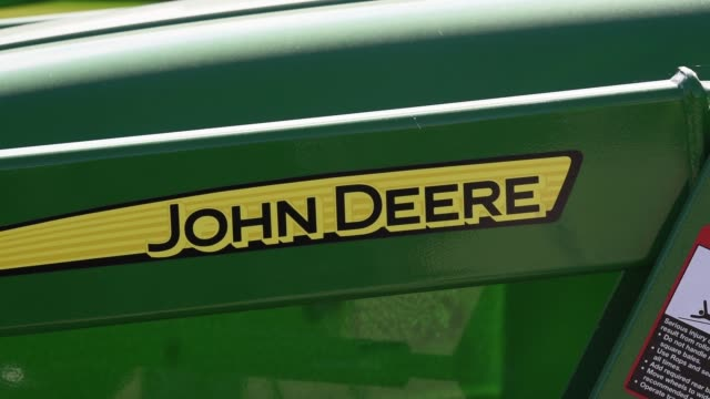 Signage on John Deere Tractors at a dealership in Waco TX on November 20 2017 Photographer Sergio Flores Shots CU of signage on John Deere tractor...
