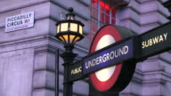 MS Signboard of underground station piccadilly circus / London, Great Britain