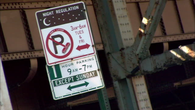 Signs alert commuters to parking regulations.