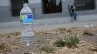 Signs promoting water conservation are posted outside the California State Capitol Building in Sacramento California during a prolonged drought on...