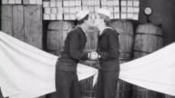Silent Short film Navy Blues / Naval recruit must sleep in storage room / Girlfriend opens port hole and water rushes in / She is sent to sleep in...