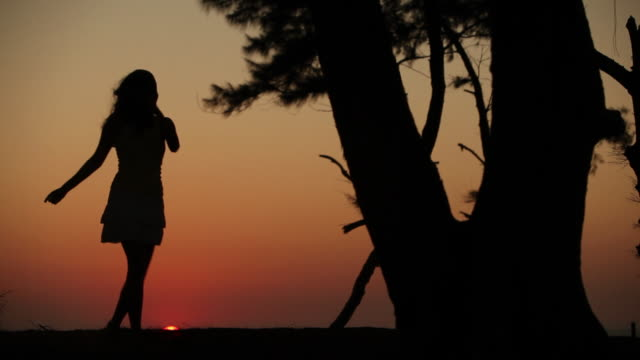 Silhouette of a couple romancing at sunset