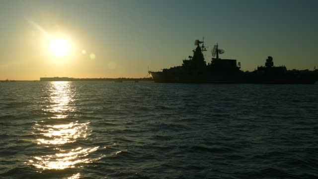 silhouette of a powerful warship