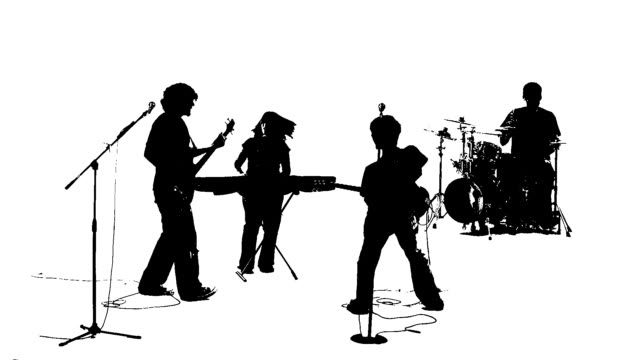 Silhouette of a punk rock style band