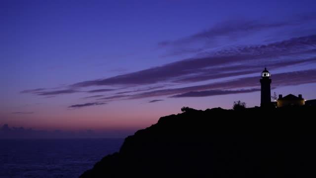 WS Silhouette of Farol de Alfanzina lighthouse against sky at dusk / Carvoeiro, Algarve, Portugal