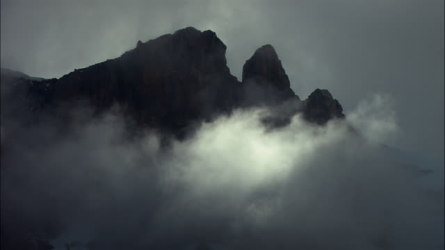 MS, Silhouette of mountain peak covered with clouds, Los Glaciares National Park, Patagonia, Argentine