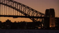 MS, Silhouette of Sydney Harbor Bridge at dusk, Sydney, Australia