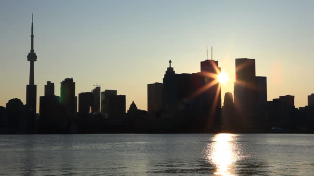 Silhouette of Toronto during sunset