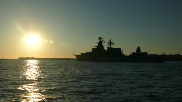 Silhouette of warship