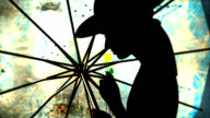 Silhouette of woman with umbrella and flower