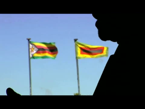 Silhouette of Zanu PF party member as nationalist flags billow in breeze Zimbabwe 29 July 2009