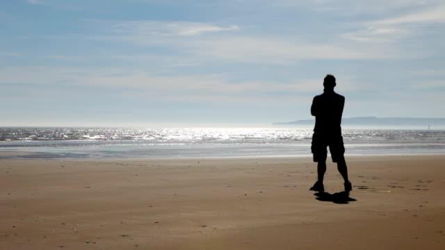 Silhouette on beach