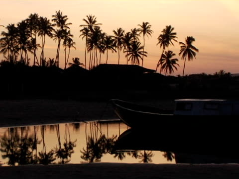 ZO, WS, Silhouettes of boat and palm trees at sunset, Jericoacoara, Brazil