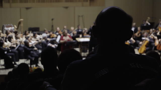 Silhouettes of people in the audience listening to a classical music concert. Focus is on the foreground