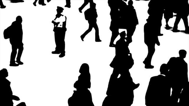 B/W-Silhouetten von Personen, die unterwegs