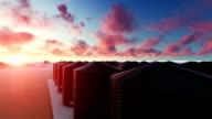 Silo's Towers bij zonsondergang