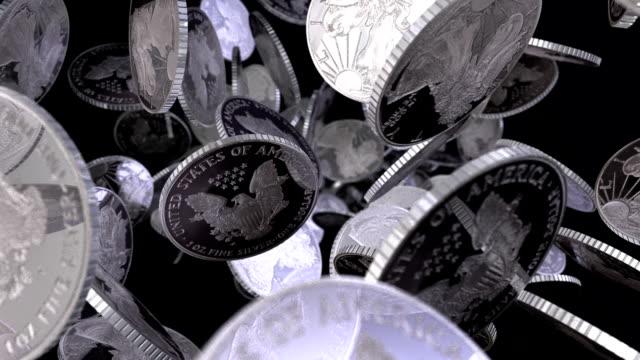 U.S.A. Silver Bullion Coins Tumbling Towards View