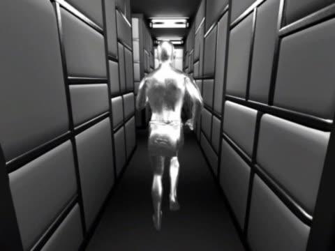 WS CGI POV Silver computerized figure running through silver paneled maze