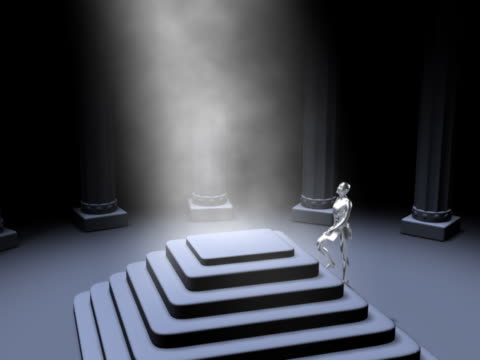 WS CGI Silver computerized figure running to top of platform and raising hands