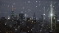 Silver snow glitter cityscape skyline New York City Abstract