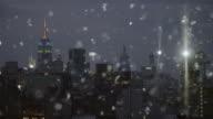Silver Schnee glitzernde skyline von New York City skyline von abstrakten