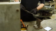 Silversmith casting in a workshop