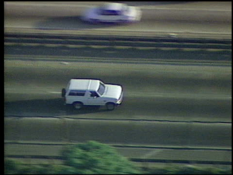 Simpson driving white Ford Bronco while being chased by police cars on Los Angeles highways OJ Simpson Ford Bronco Police Chase on June 17 1994 in...