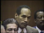 Simpson in courtroom as not guilty verdict is read in court / view of families in audience OJ Simpson Not Guilty Verdict is Read on October 03 1995...