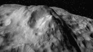/ simulated CGI flight into the sunrise along Vesta asteroid's equator over Divalia Fossa a system of parallel troughs / Marcia crater is the largest...