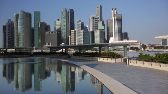 Ws singapore city skyline in reflecting pool stock footage video getty images - Singapur skyline pool ...