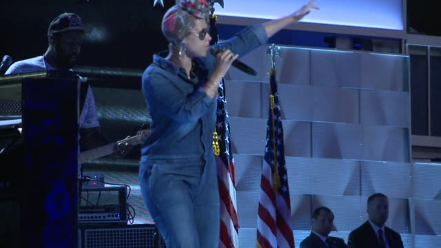 Singer Alicia Keys performs her song 'In Common' at the Democratic National Convention Democratic National Convention 2016 at Wells Fargo Center on...