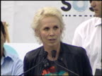 Singer and bassist Sting of The Police and wife Trudie Styler with Luis Yanza Steven Donziger and Pablo Fajardo the legal team fighting a large...