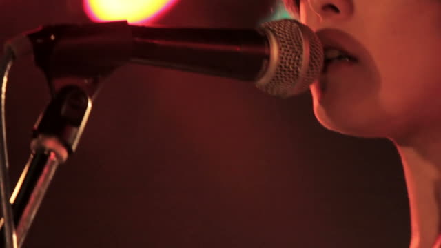 Singing on the stage. Selective focus.