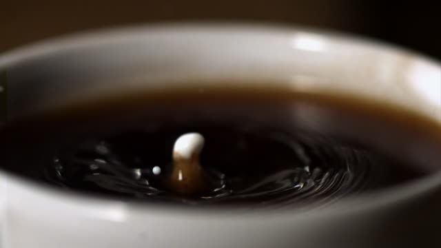 MS CU SLO MO Single drop of milk splashes into cup of coffee