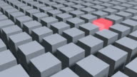 Single Glowing Red Cube With Middle Of Metallic Gray Cubes