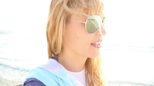 Single woman Beach Montage.