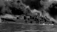 MS TS Sinking battleship burning with lots of black smoke and Another battleship passing through (miniature)